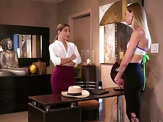 Blonde Gives A Rubdown To Bootyful Customer Abella Danger And Licks...